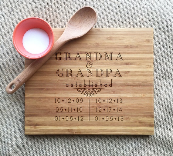 Personalized Cutting Board, Grandma & Grandpa, Established Dates For Grandkids, Personalized Gift For Grandparents, Bamboo Cutting Board