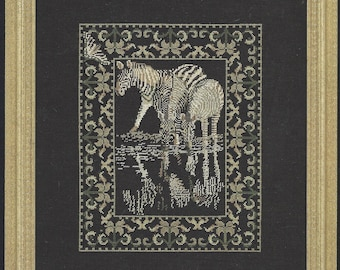 90s Safari Collection Zebra Counted Cross Stitch Chart by Janet Powers Vintage Cross Stitch Charts