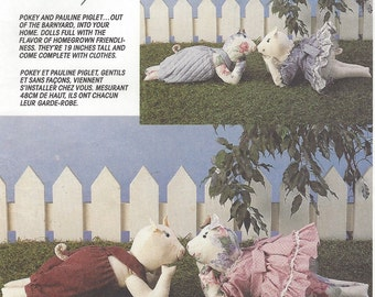90s Pokey and Pauline Piglet 19 Inch Stuffed Pigs and Clothes McCalls Sewing Pattern 6369 UnCut Pig Doll Patterns
