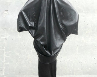 Maria Severyna - The Silhouettes Collection - Black Faux Leather Drape Jacket