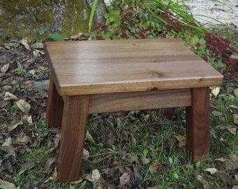 solid walnut/ step stool/ foot stool/ riser/ reclaimed wood/ modern/ rustic