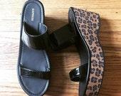 Express Black Patent and Leopard Print Platform Sandals - Retro Disco Dance - Cheetah - Size 8