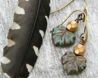 Dangle earrings handmade beaded jewelry czech glass leaf and brass drop earrings simple dangles gift for her
