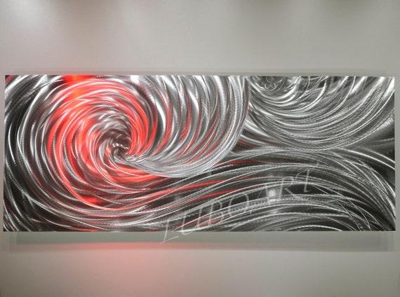 Metal art Sculpture Modern office home wall decor LED RBG colour Halogen light new 3D Video Silver Ocean Dance Original artist Lubo Naydenov