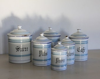 French Enamel Canisters, Set of Six Nesting Canisters.  White and Blue Enamel  Storage Set.
