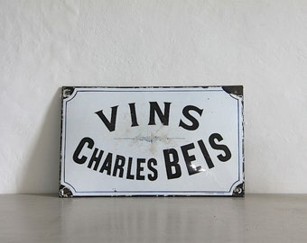 Antique French Enamel Convex sign Blue and White Sign, Wine, Vin, RARE Porcelain Sign