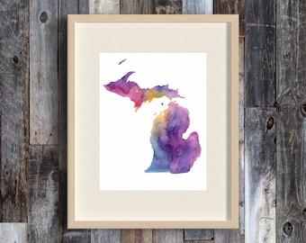 Wanderlust - Michigan Watercolor Map Painting - Great Lakes -Colorful - Art Print - Michigan-themed art - The Big Lake - Painted Map