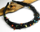 Nature black linen set with colorful stones. Rainbow colors. Natural necklace
