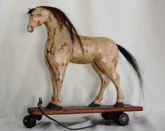 Antique Vintage Childs Wooden Horse Pull Toy Pony Folk Art Primitive Rustic