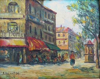 Vintage Oil Painting SIGNED Impressionism / Je Dome restaurant Paris / A Valentin / Frame as is