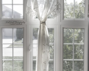 White Maternity Lace Kimono,  Made of Embroidered Sheer Fabric & trimmed in Delicate Lace