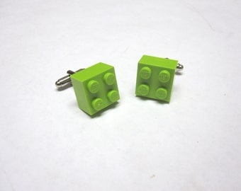 Lime Green LEGO Cuff links Brick Cufflinks