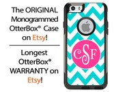 iPhone OtterBox Commuter Case for iPhone 6/6s, 6 Plus/6s Plus, 5/5s, 5c, 4/4s, Galaxy S6 S5 S4 Note 5 4 Monogrammed Chevron Aqua Phone Case