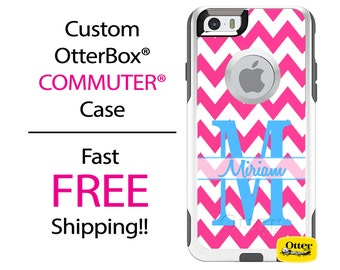 Custom OTTERBOX Commuter iPhone 7, 7 Plus, 6/6s, 6 Plus/6s Plus, 5/5s/SE, 5c Galaxy S7 S6 S5 Note 5 Case Pink Chevron Jumbo Letter Monogram