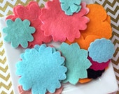 Wool felt flowers - flower grab bag - wool felt flower grab bag - ready to ship - aqua wool felt - blue wool felt - coral - banana wool felt