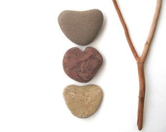 Heart Shaped Rocks Stone Hearts Zen Stone Pebble Heart Natural Stone Heart Beach Stone Heart Valentine Gift Pocket Charm Brown EARTH TRIO