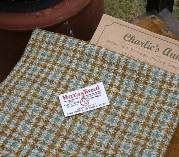 "Handwoven Harris Tweed fabric piece 17"" x 30"" in mustard, green and grey houndstooth style check"