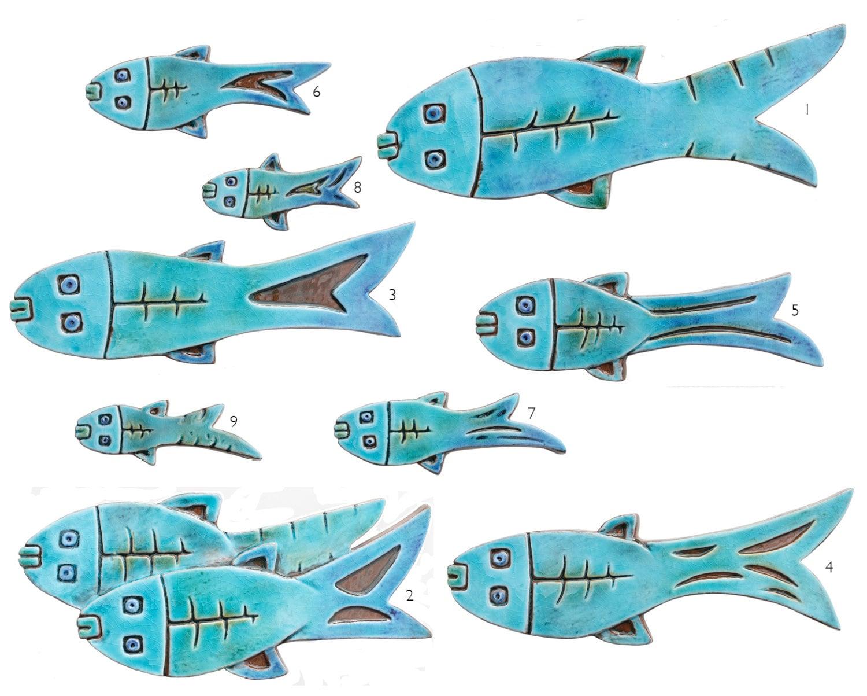 Set di 10 pesci di ceramica pesce parete art pesce for Pesci per laghetti esterni