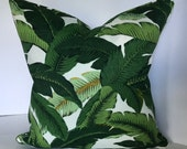 Tommy Bahama Island Palms Pillow Cover with Piping in Indoor Outdoor Fabric