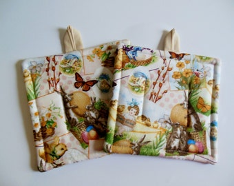 Pair Of Easter Fabric Potholders, Set Of Two Quilted Potholders