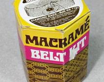 Vintage Macrame Belt Kit - 1971 Unused - In A Box - Hippie / Boho Craft Supply - Diamond Back Design - Knotting - estate sale find