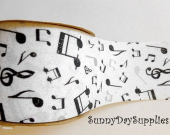 Music Ribbon,  Musical Notes, Sheet Music, Jazz, White with Black and Silver Notes, Silver, 2.5 in. wide, 2 YARDS, Music Ribbon