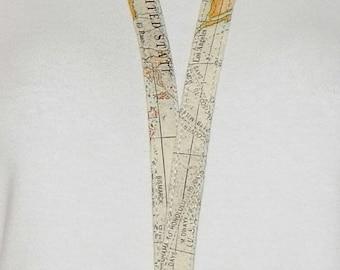 Lanyard - Id Badge Holder - Id Holder - Key Lanyard - Teacher Lanyard - Fabric Lanyard - Key Chain - World Map