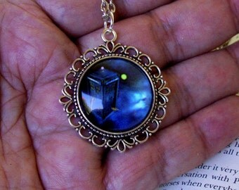 TARDIS Police Box Pendant (N611), Doctor Who Necklace, Shiny Midnight Blue Setting, Silver Pendant and Chain