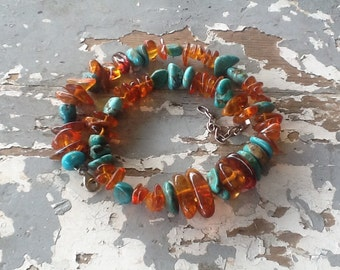 Amber and Turquoise Necklace Western Jewelry Cowgirl Chunky