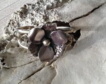 Vintage Sterling Silver Bracelet Cuff Bracelet  Heavy Solid Sterling Silver Jewelry Flower Jewelry