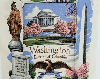 Linen kitchen or bar towel vintage Washington DC retro souvenir / American White House & USA memorials election / Kay Dee handprints unused