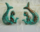 Mermaid Drawer Pulls Knobs / set of 2 opposite facing mermaids / Nautical Furniture Supply Hardware / Ocean theme Nursery / Pick Your Color