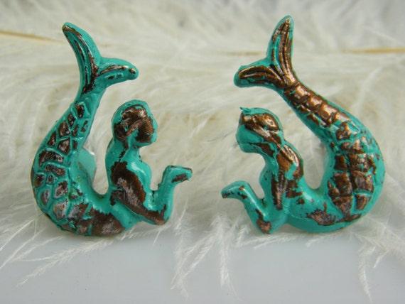Mermaid Drawer Pulls Knobs Set Of 2 Opposite Facing Mermaids
