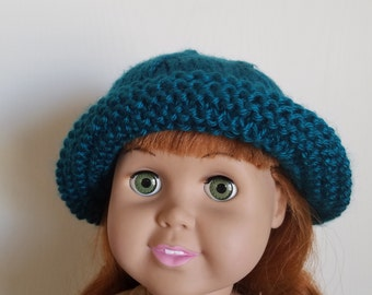 Knit Sun Hat for 18 inch Doll in Teal American Girl, My Journey, Dollie and me