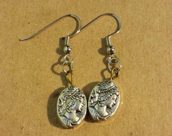 Silver Cameo Beaded Earrings