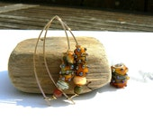 Yellow Sunset Lampwork and Gold Vermeil Earrings,Handmade Lampwork Earrings,OOAK