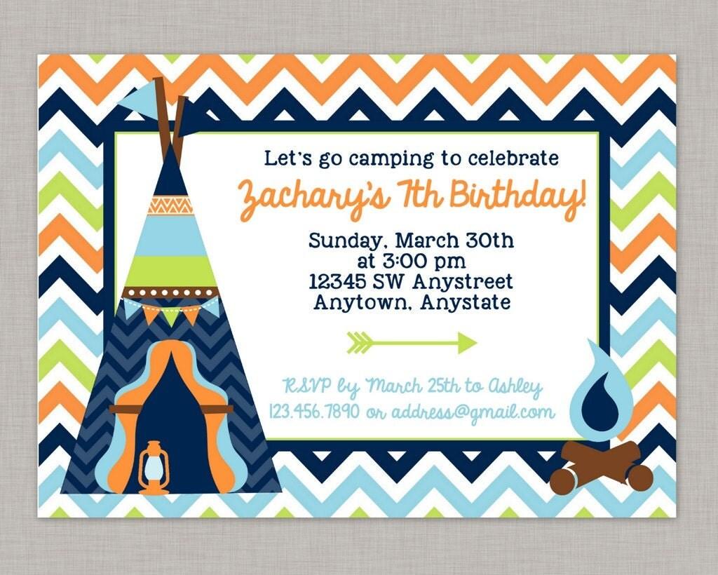 Camping Birthday Invitation, Camping Party, Camping Birthday ...