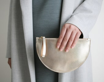 Half Moon Clutch Mini Shiny Light Gold, Wallet, Bridal Bag, Leather Clutch, Evening Bag, Leather Purse