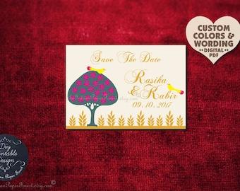 Indian Wedding MOGHUL LOVEBIRDS & TREE Save The Date Card Diy Printable Invitation Set Boho Chic Hindu Sikh Punjabi Jain Asian Arab Persian