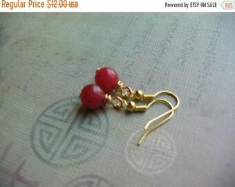Clearance Red Jade Earrings - Red Earrings - Jade Gemstone Gold Plated Earrings