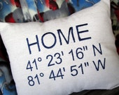 Personalized Latitude Longitude Home Pillow Cover, Custom Address GPS Coordinates Pillow, Customized Embroidered Pillow Cover