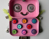 Hanging Bot - Pigtails and Polka Dots Bot - Hanging Decor - Recycled Art - Wall Decor by Jen Hardwick