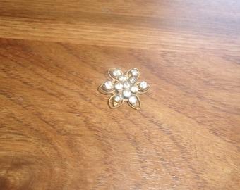 vintage pin brooch lapel goldtone rhinestones