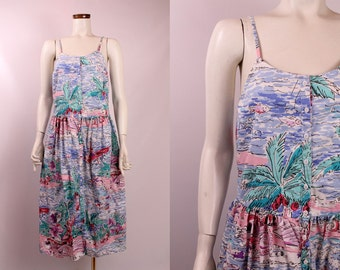 Vintage 80s 90s - Ocean Palm Tree Fish Seashell Island Beach Novelty Print - Spaghetti Strap Button Up Pleated Midi Sun Dress - Eileen West
