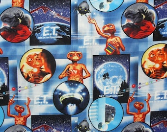 E.T. Fabric, 2 Yards,  E.T. Collage, E.T. the Alien, Phone Home, 1982 Movie, Extra Terrestrial, Steven Speilberg, Cotton Fabric