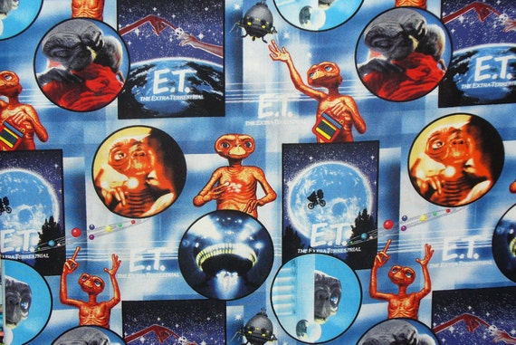 E.T. Fabric, E.T. Collage, E.T. the Alien, Phone Home, 1982 Movie, Extra Terrestrial, Steven Speilberg, By the Yard