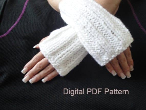 Rib Stitch Fingerless Gloves PDF Pattern Outlander Unisex Knit Hand Warmers, ...