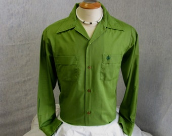 "50s M 15-15 1/2"" Royal Knight Shirt Men's Shirt Avocado Green"