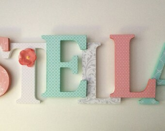 wooden letters for nursery in coral,gray and mint