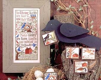 Birdsong II Book No. 129 : Prairie Schooler counted cross stitch patterns Spring birds woodland folk art primitive hand embroidery